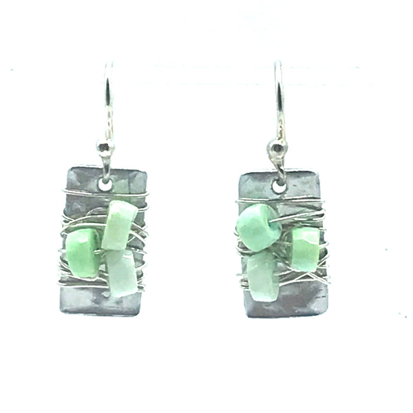 Aluminum Rectangle with Green Opal Stone Earrings - Side Street Studio