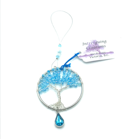 Tree of Life Sun Catcher with Light Blue Glass Beads & Blue Charm - Side Street Studio
