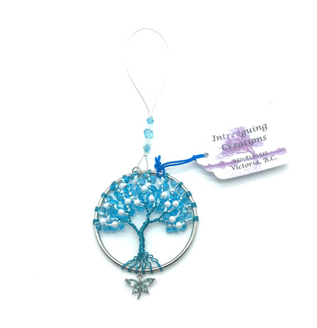 Tree of Life Sun Catcher with Light Blue/White Glass Beads & Butterfly Charm - Side Street Studio