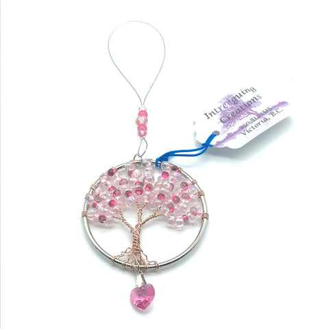 Tree of Life Sun Catcher with Pink Glass Beads & Heart Charm - Side Street Studio