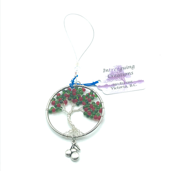 Tree of Life Sun Catcher with Red/Green Glass Beads - Side Street Studio