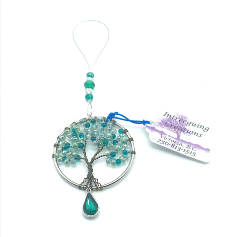 Tree of Life Sun Catcher with Clear/Blue Glass Beads & Green Charm - Side Street Studio