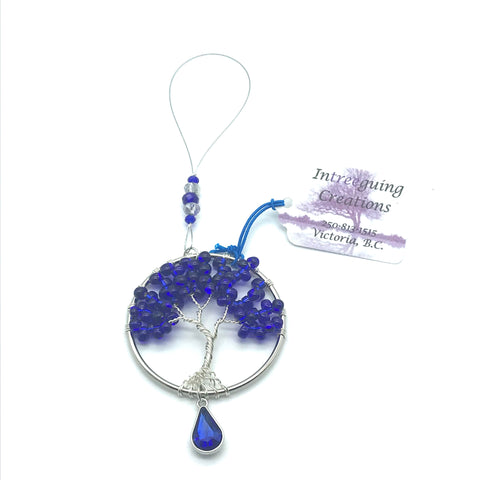 Tree of Life Sun Catcher with Dark Blue Glass Beads & Blue Charm - Side Street Studio
