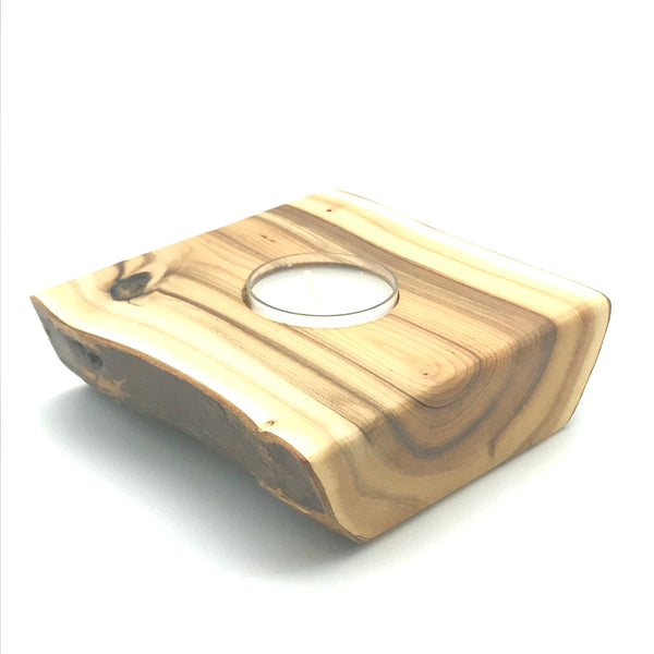Yew Wood Single Tea Light Holder - Side Street Studio