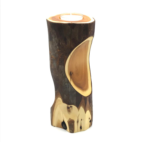 Yew Wood Tall Single Tea Light Candle Holder - Side Street Studio