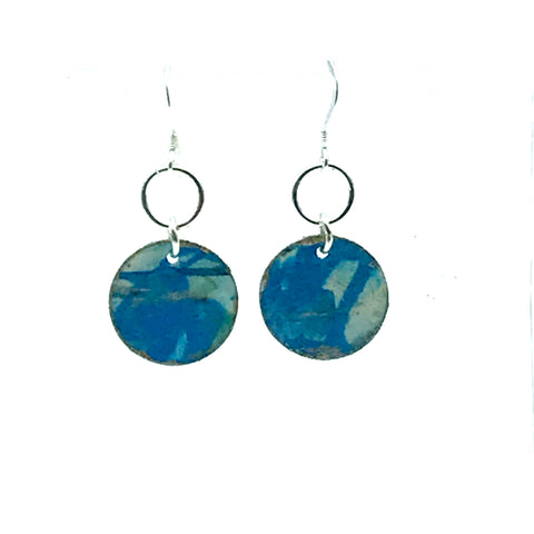 Hand Painted Round Earrings, Blue & Cream - Side Street Studio