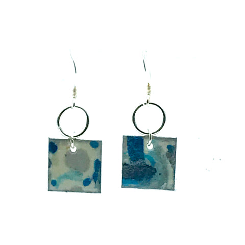 Square Hand Painted Earrings in Blue & Silver - Side Street Studio