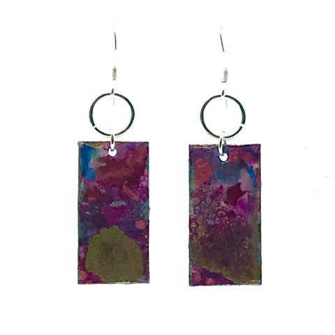 Rectangle Hand Painted Earrings in Pink & Gold - Side Street Studio