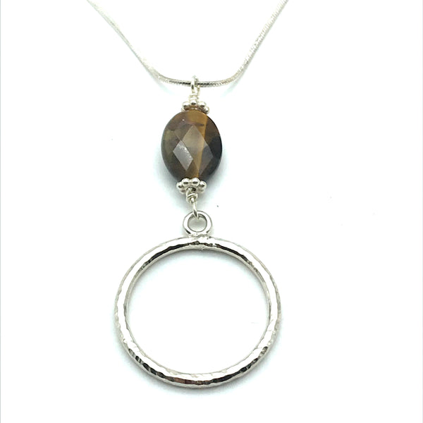 Sterling Silver Tiger's Eye Pendant Necklace - Side Street Studio