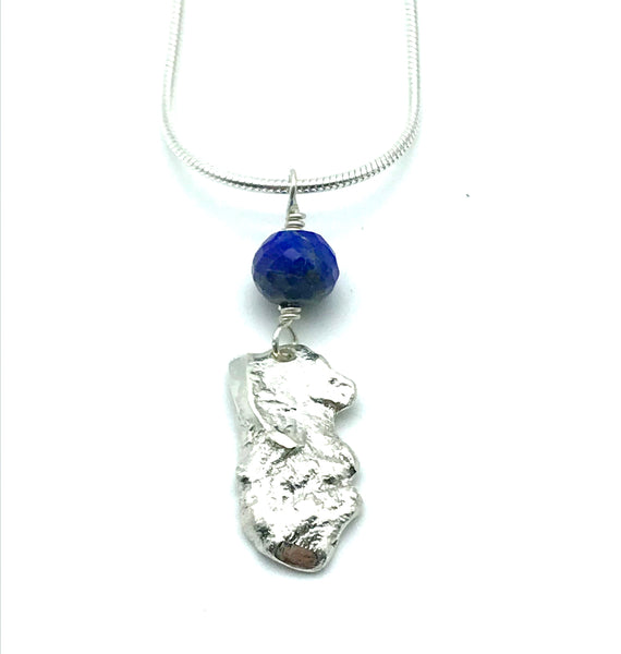 Sterling Silver Lapis Lazuli Pendant Necklace - Side Street Studio