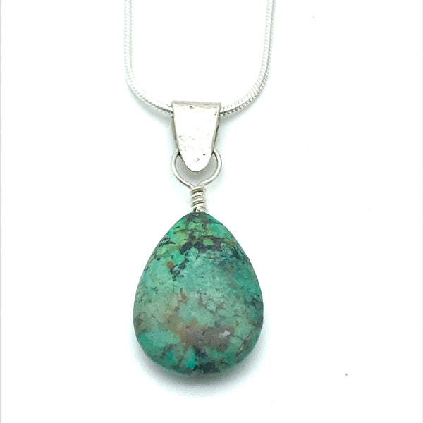 Sterling Silver Turquoise Pendant Necklace - Side Street Studio