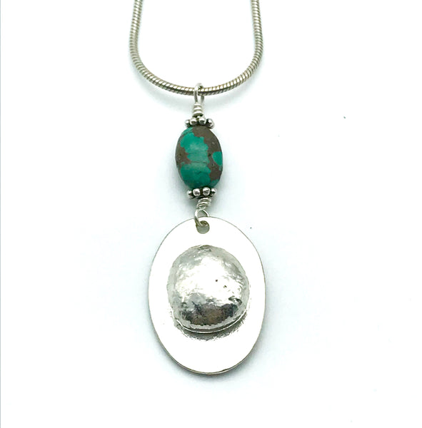 Sterling Silver Turquoise Freeform Pendant Necklace - Side Street Studio