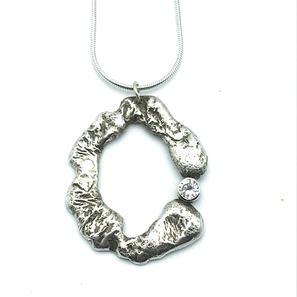 Sterling Silver Freeform Pendant Necklace - Side Street Studio