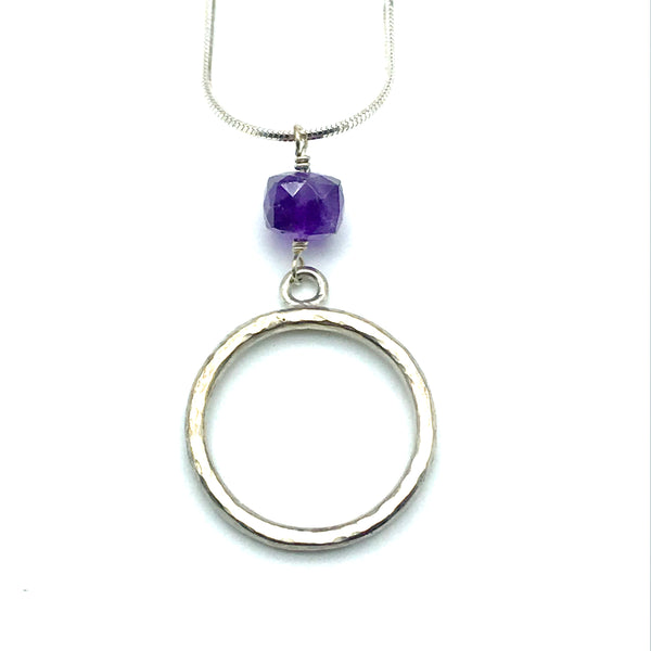 Sterling Silver Amethyst Pendant Necklace - Side Street Studio