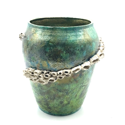 Raku Large Barnacle pot in ocean green/gold - Side Street Studio