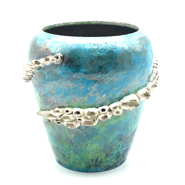Raku Medium Barnacle pot in ocean turquoise/gold - Side Street Studio