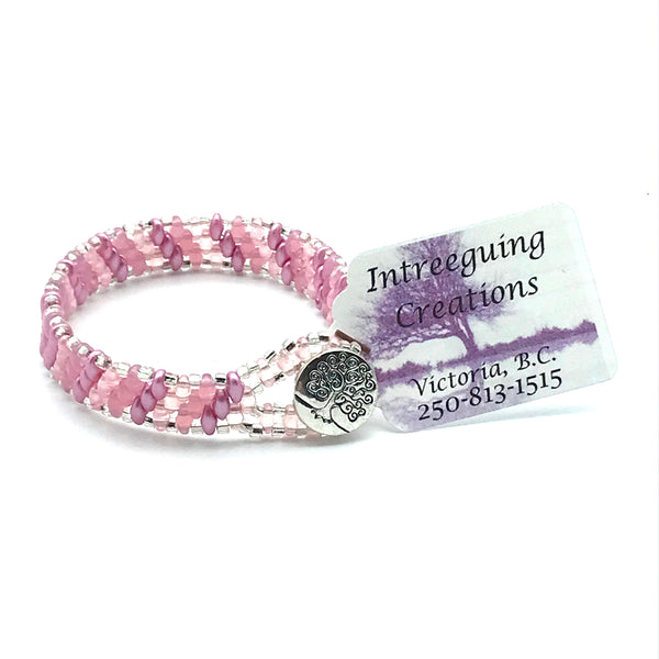 Tree of Life Beaded Bracelet in Pink and Silver