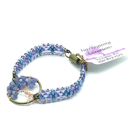 Tree of Life Beaded Bracelet in Blue and Lavender