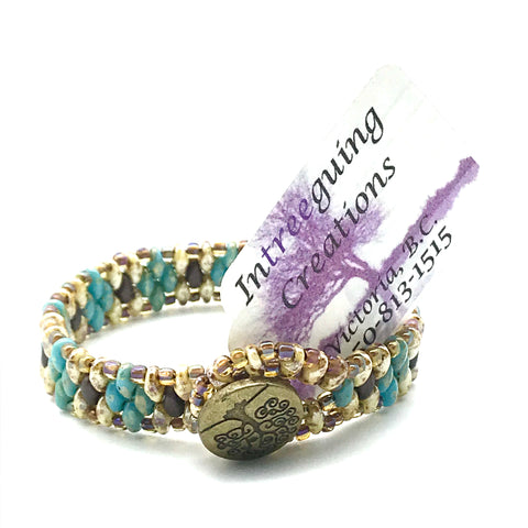 Tree of Life Beaded Bracelet in Turquoise, Yellow and Brown