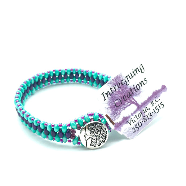 Tree of Life Beaded Bracelet in Aqua and Purple