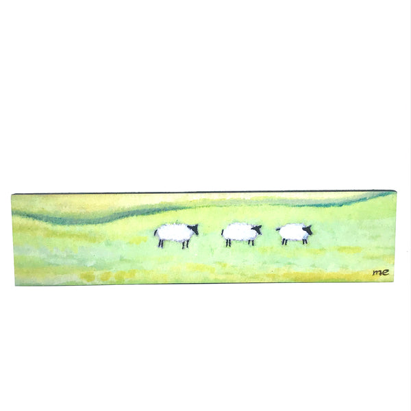 "Art on Block Mount with Field Sheep 3"" x 12"""