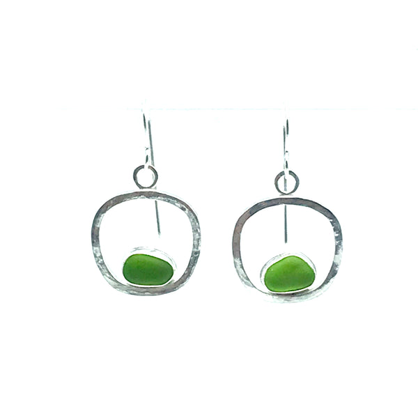 Lime Green Seaglass Dangly Earrings