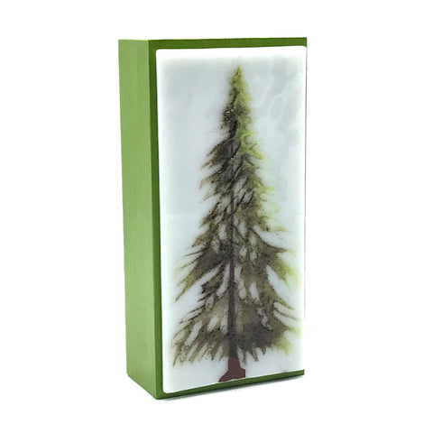 "Fused Glass Art with Single Evergreen Tree 3""x 6"""
