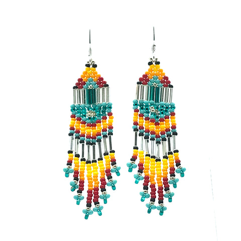 Turquoise, Red, Yellow Seed Bead Earrings