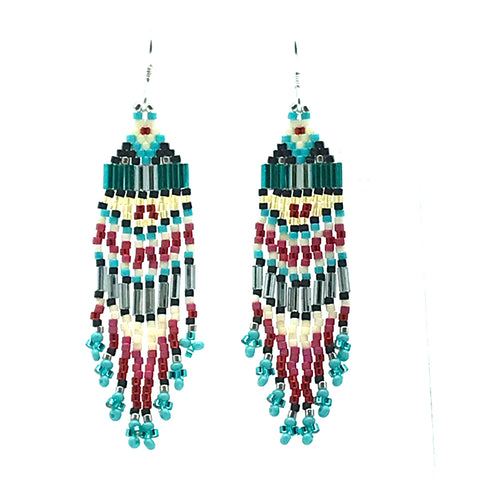 Turquoise, Pink, White Seed Bead Earrings