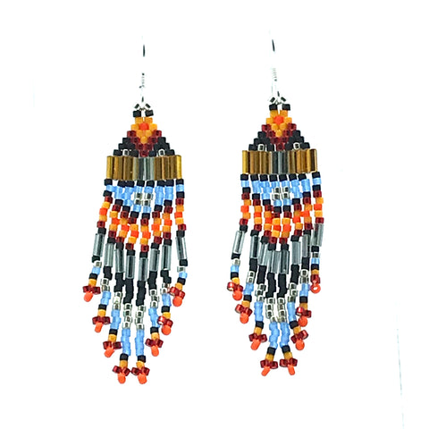 Blue, Orange, Grey Seed Bead Earrings