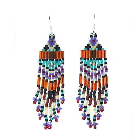 Orange, Green, Lilac Bead Earrings