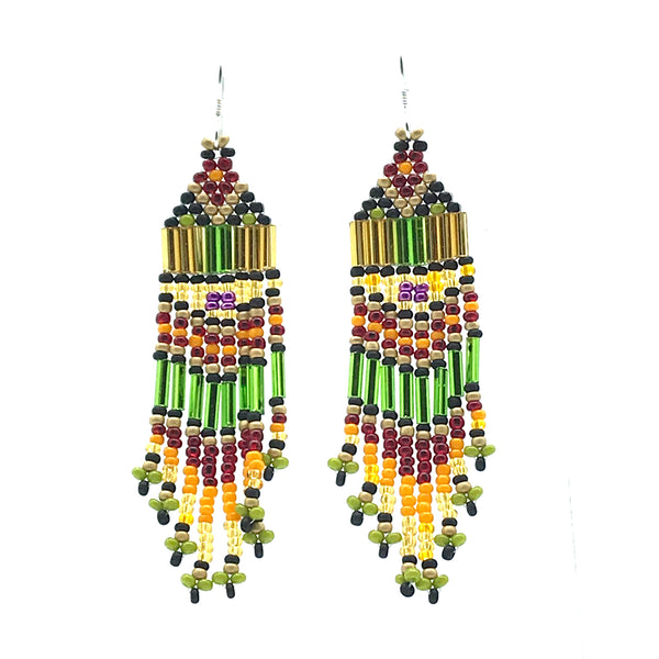 Green, Yellow, Red Bead Earrings