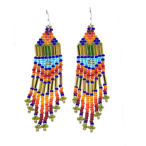 Orange, Gold, Red Bead Earrings