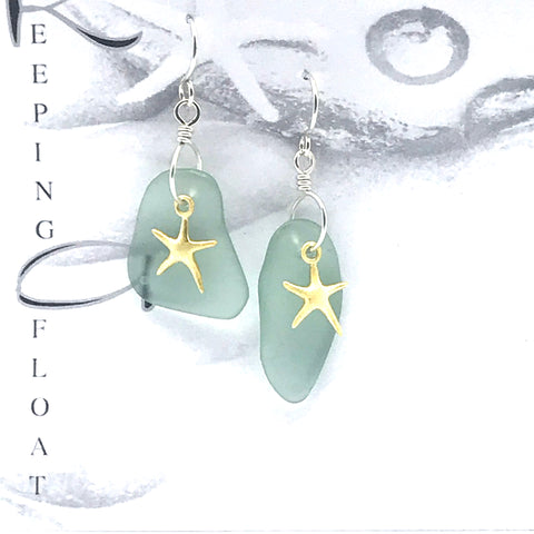 Glass fishing float gold sea star design earrings, drops 1 3/4 inches