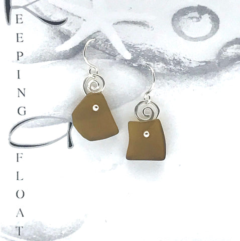 Glass Fishing Float Golden Dot Earrings