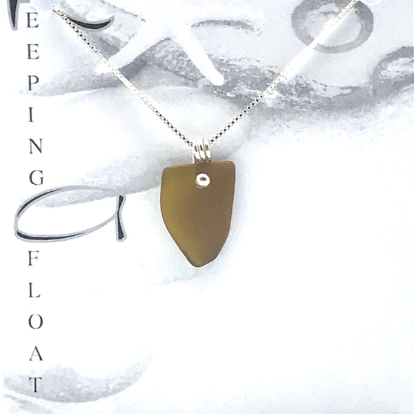 Glass Fishing Float Golden Dot Pendant Necklace