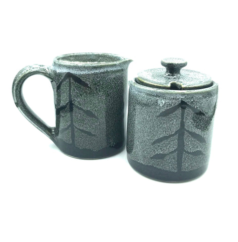 Ceramic Cream and Sugar Set with Tree Design