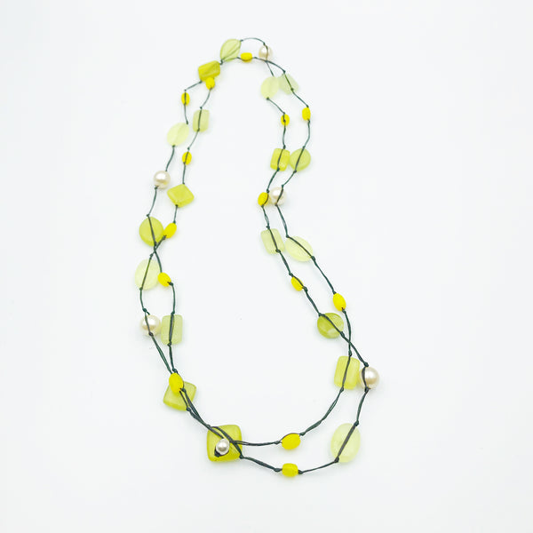 Infinity Beach Glass Necklace, Black with Yellow and Pearl 21 inches