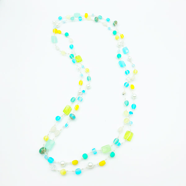 Infinity Beach Glass Necklace, White with Pastels 25 inches
