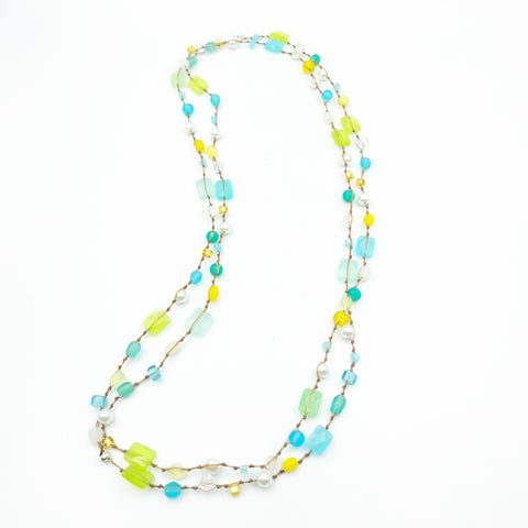 Infinity Beach Glass Necklace, Natural with Pastels and Pearl 25 inches