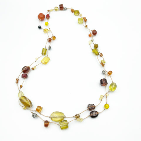 Infinity Beach Glass Necklace, Natural with Brown and Yellow 25 inches