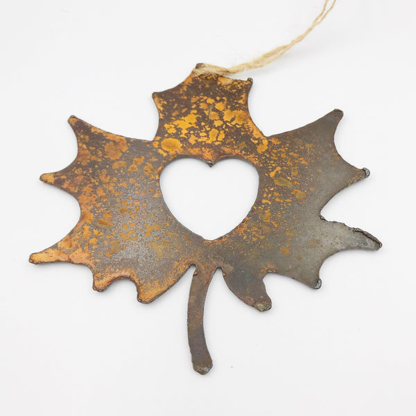 Rusted Steel hanging Maple Leaf, 4 x 3 inches