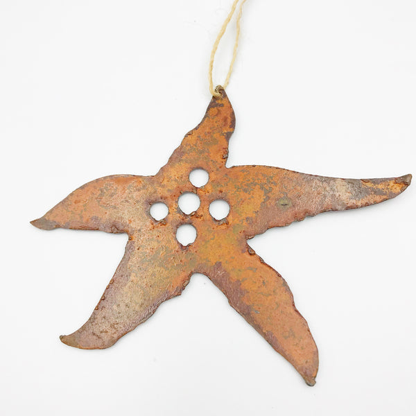 Rusted Steel hanging Starfish, 4 x 3 inches
