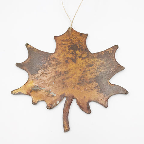 Rusted Steel hanging Solid Maple Leaf, 4 x 3 inches