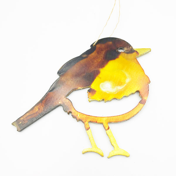 Painted Aluminium hanging Winter Bird, Yellow, 4 x 3 inches