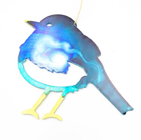 Painted Aluminium hanging Winter Bird, Blue, 4 x 3 inches