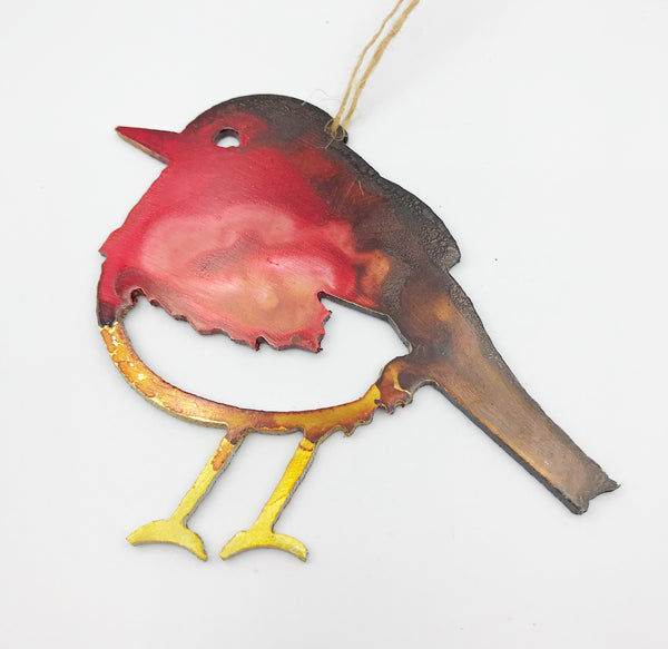 Painted Aluminium hanging Winter Bird, Red, 4 x 3 inches