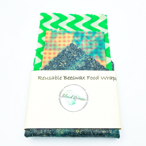Island Reveries Reusable Beeswax Food Wraps, Green, Pink and Black