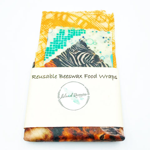 Island Reveries Reusable Beeswax Food Wraps, Orange, Green and Animal