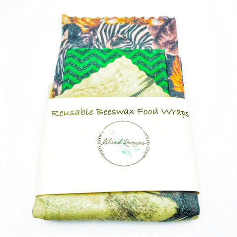 Island Reveries Reusable Beeswax Food Wraps , Animal, Green, Sage